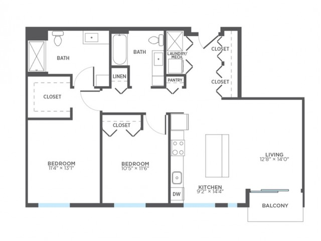 2 Bdrm Floor Plan | Milwaukee 1 Bedroom Apartments | Stitchweld