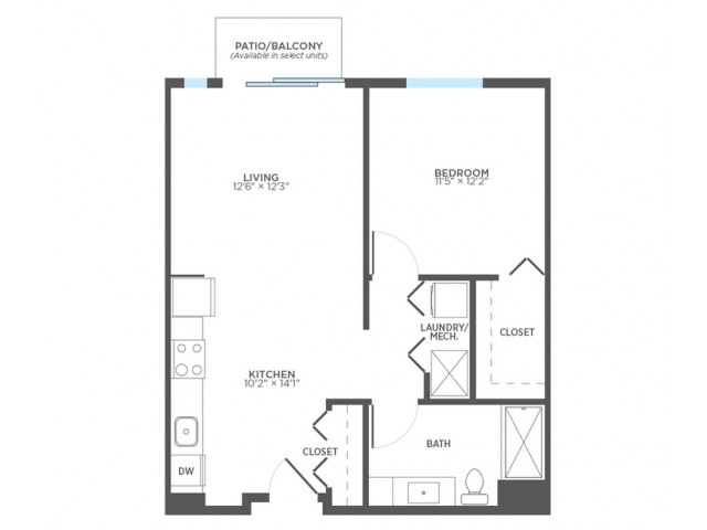1 Bedroom Floor Plan | Apartments For Rent In Milwaukee Wisconsin | Stitchweld