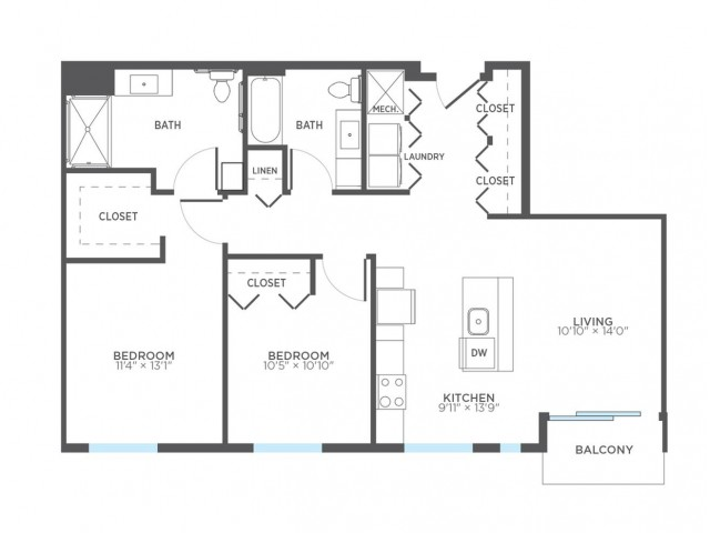 Floor Plan 22 | 2 Bedroom Apartments In Milwaukee | Stitchweld