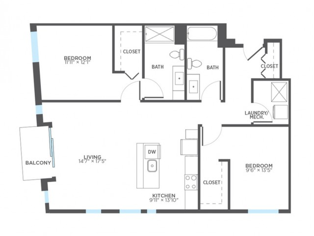 Floor Plan 9 | Milwaukee 1 Bedroom Apartments | Stitchweld