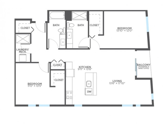 Floor Plan 12 | 2 Bedroom Apartments In Milwaukee | Stitchweld