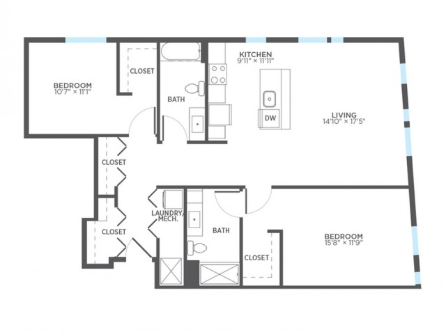 Floor Plan 24 | Milwaukee 1 Bedroom Apartments | Stitchweld