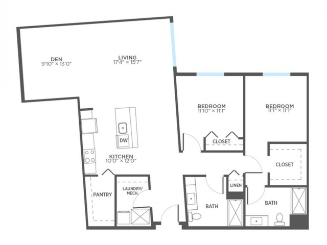 Floor Plan 14 | Milwaukee 1 Bedroom Apartments | Stitchweld