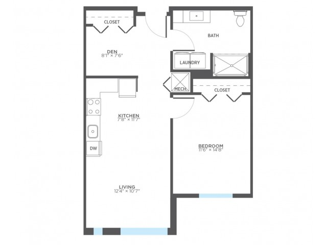 Floor Plan 4 | Milwaukee 1 Bedroom Apartments | Stitchweld