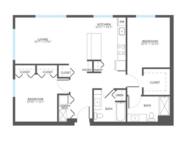 Floor Plan 17 | 2 Bedroom Apartments In Milwaukee | Stitchweld