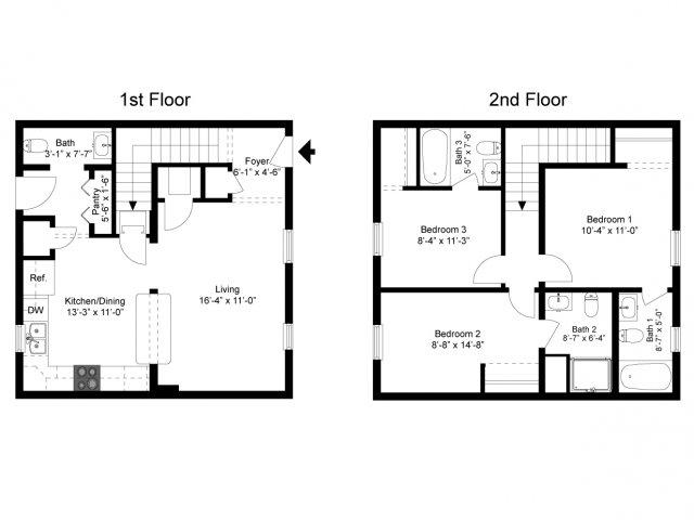 Three bedroom three and a half bath townhomes for Half bath floor plans