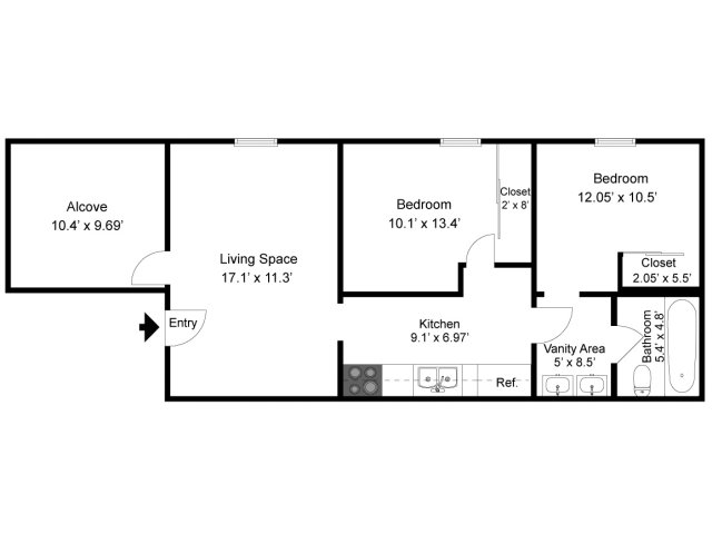 2 Bedroom With Alcove Apartments In Indiana Pa Near Iup