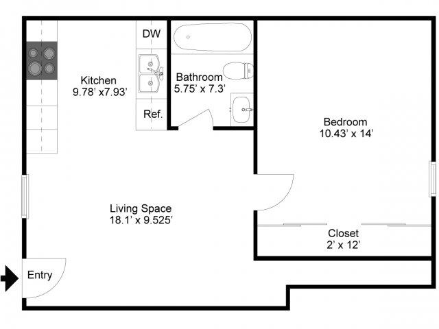 1 Bed 1 Bath Apartment In Indiana Pa Crimson Cove