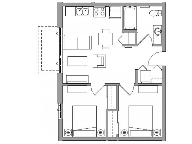 2 Bedroom1 Bath - 2X1A