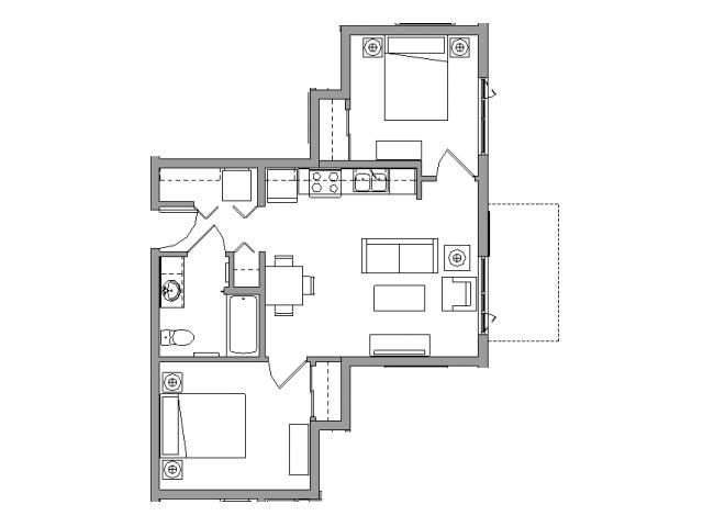 2 Bedroom1 Bath - 2X1B