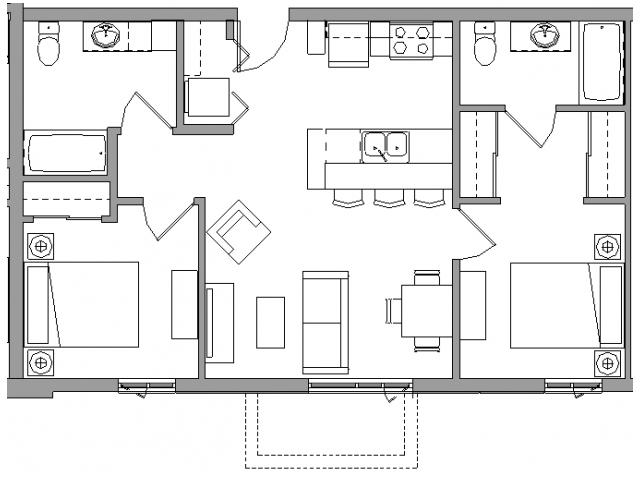 2 Bedroom2 Bath - 2X2D