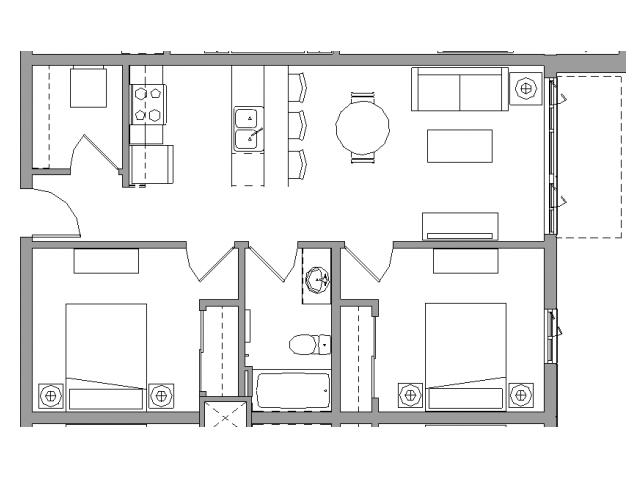 2 Bedroom1 Bath - 2X1E