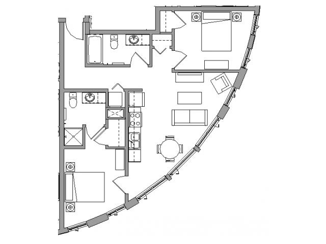 2 Bedroom2 Bath - 2X2F