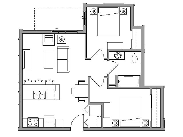 2 Bedroom1 Bath - 2X1G