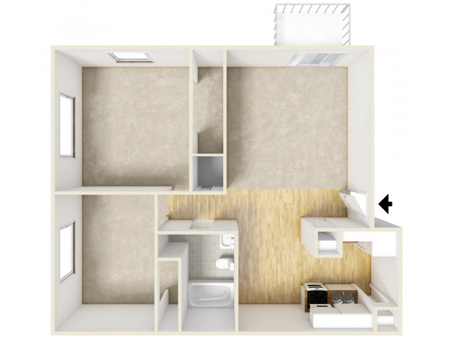2 Bedroom Floor Plan | Farmington Place 2