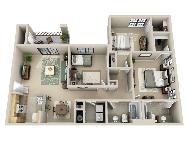 3d floor plan image 1 for the 3 bedroom 2 bath floor plan of property
