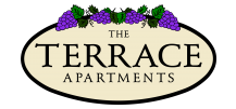 Property logo, which is oval with The Terrace Apartments in the middle and decorate grapes draping over the top of the oval.