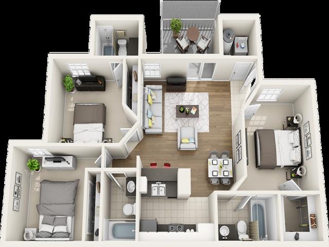 Vaulted Laurel Oak  3 bedrooms 3 bathrooms floor plan with premium finishes