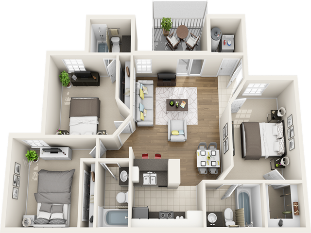 Vaulted Laurel Oak  3 bedrooms 3 bathrooms floor plan with modern finishes