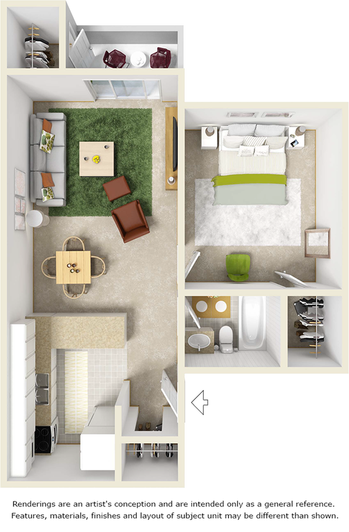 St. John floor plan with 1 bedroom, 1 bathroom and premium wood style flooring