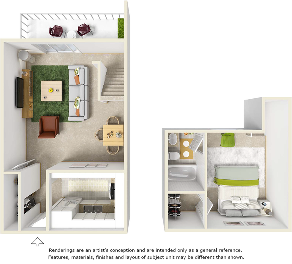 Ravine 1 bedroom and 1 bathroom floor plan