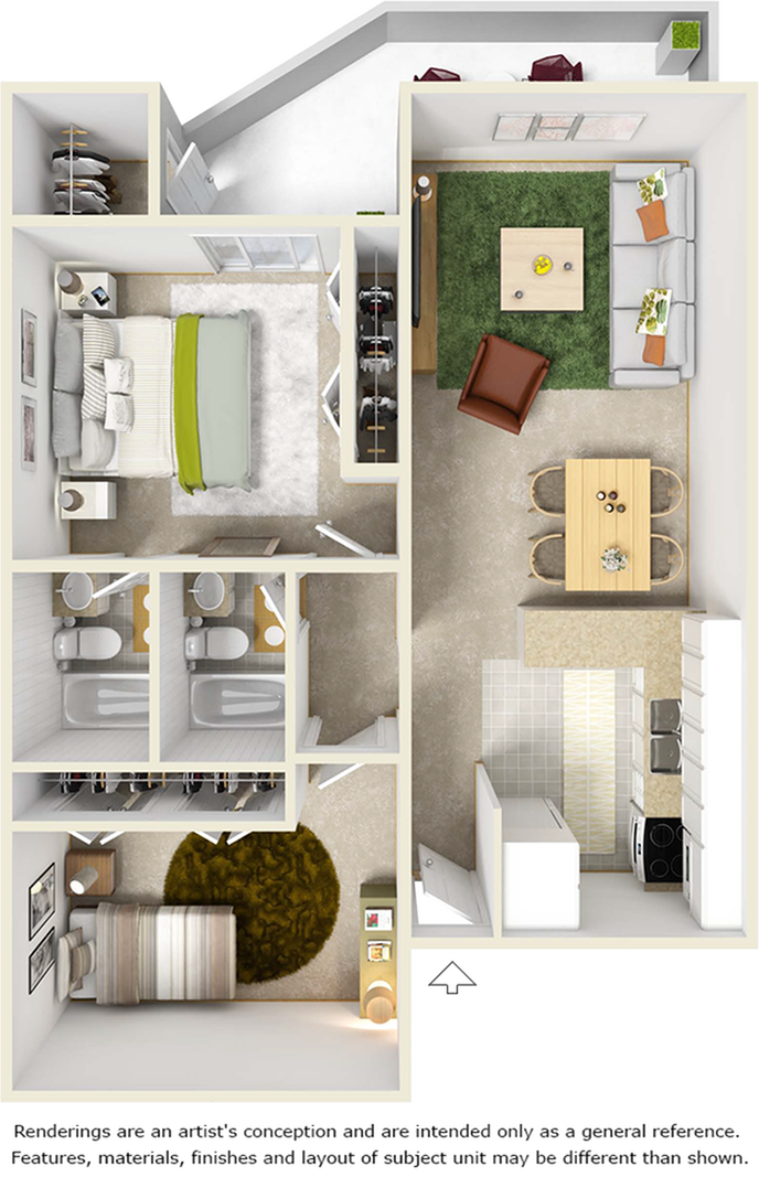 Seminole 2 bedrooms and 2 bathrooms floor plan with premium wood style flooring