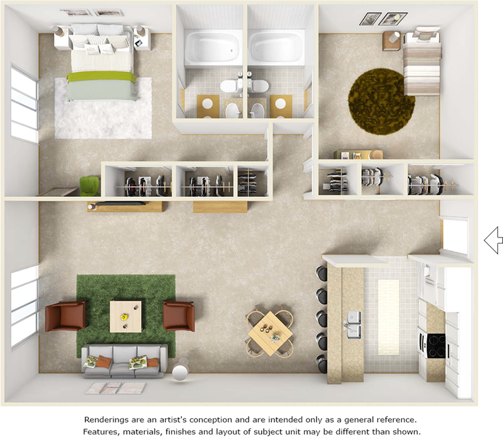 Bluegill floor plan with 2 bedrooms, 2 bathrooms, washer, dryer, and wood style floor