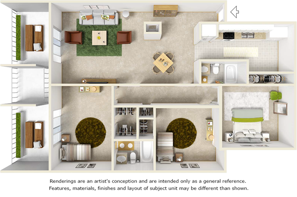 Heron floor plan with 3 bedroom, 2 bathrooms and a fireplace