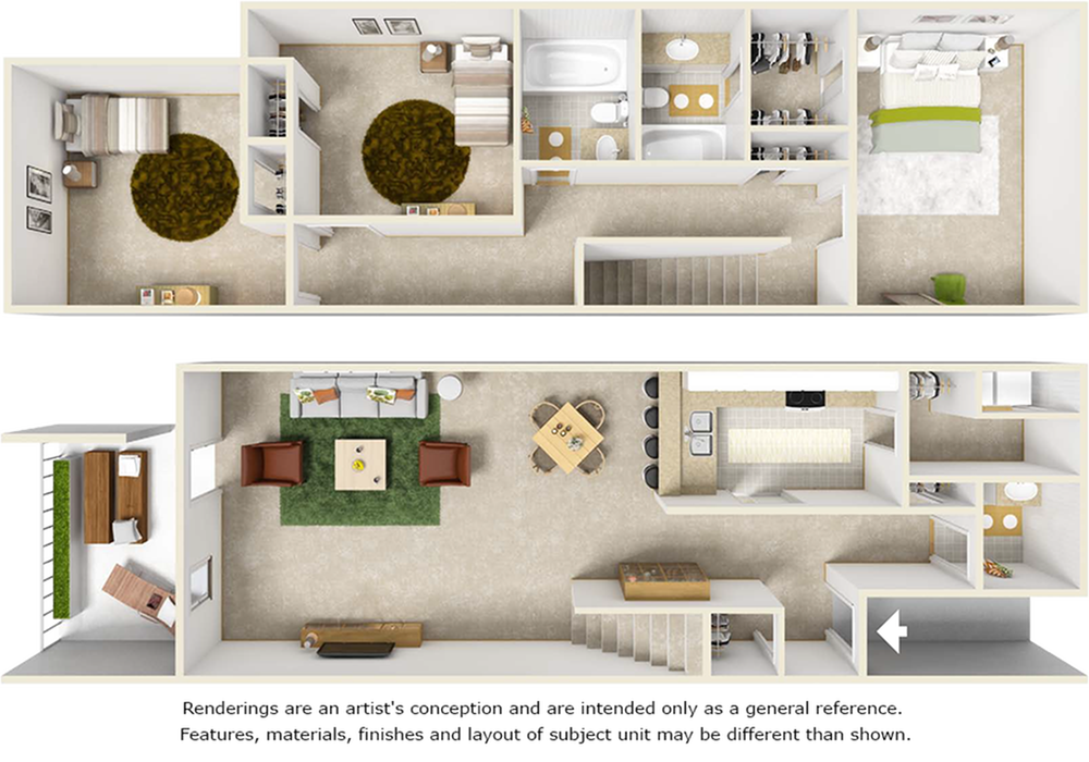 Ibis floor plan with 3 bedrooms, 2.5 bedrooms, and wood style flooring