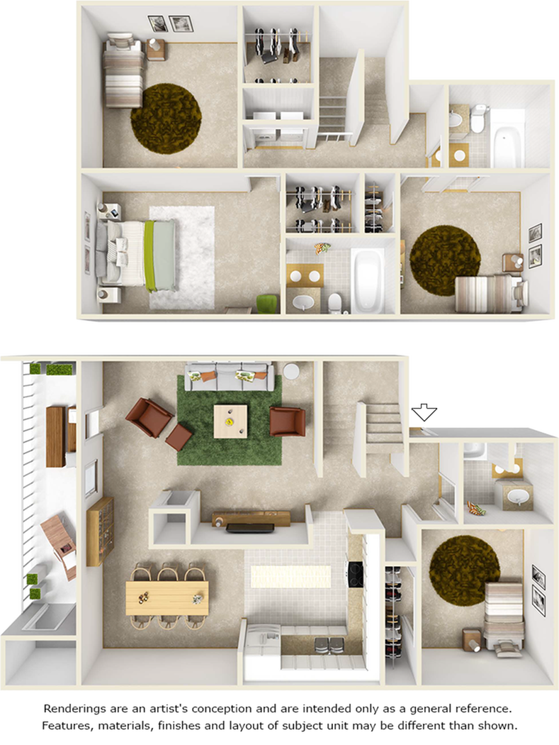 Hyacinth floor plan with 4 bedrooms and 3 bathrooms