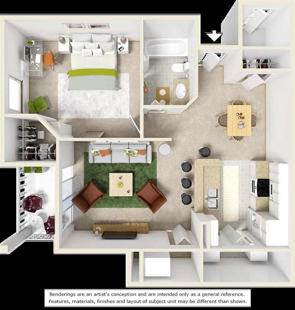 Scarlet 1 bedroom 1 bathroom floor plan with tile flooring