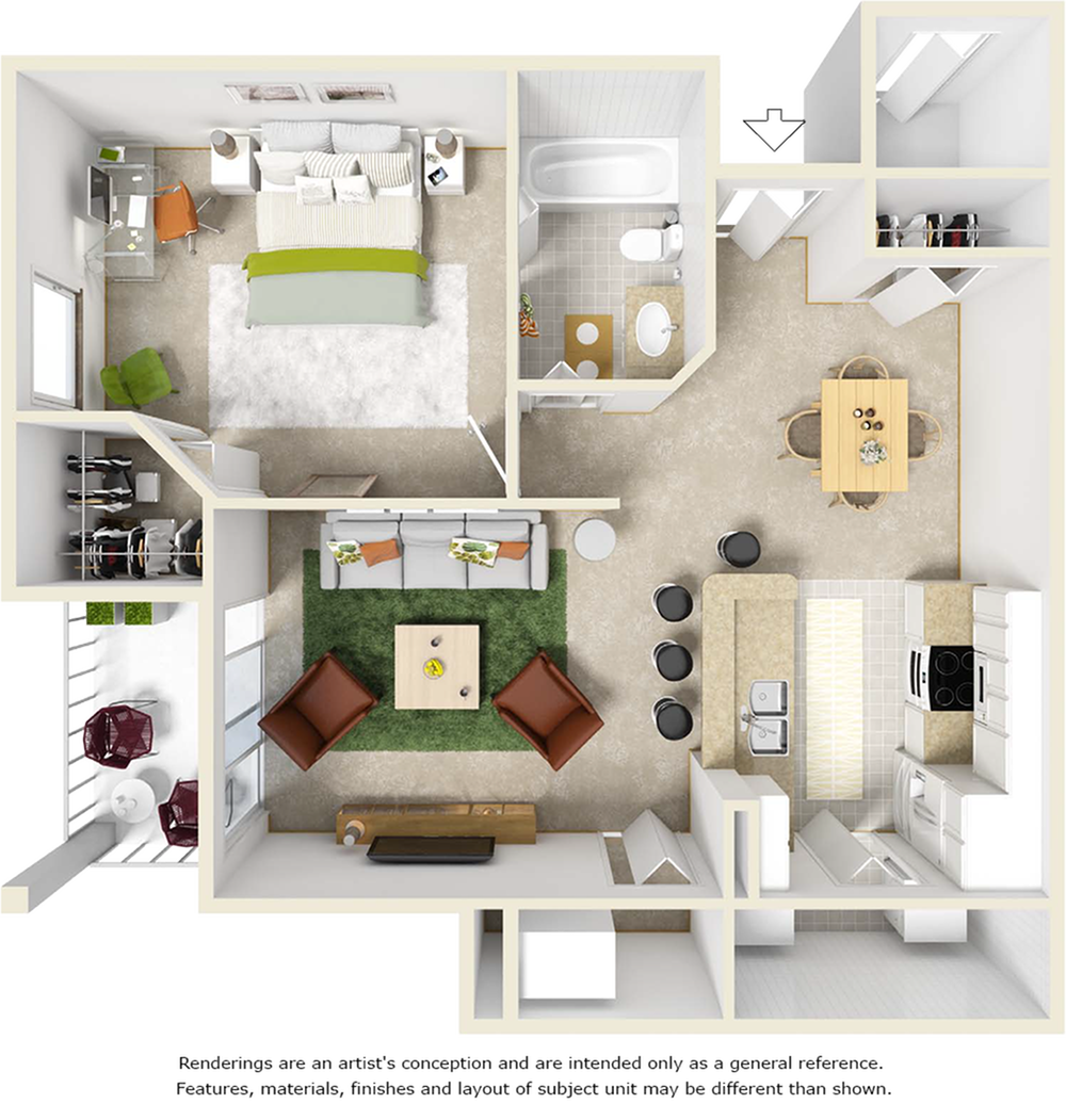 Scarlet 1 bedroom 1 bathroom floor plan with quartz
