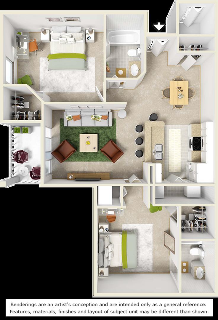 Laurel 2 bedrooms 2 bathrooms floor plan with tile floors