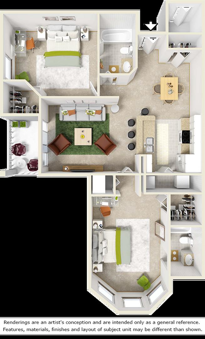 Cherry 2 bedrooms 2 bathrooms floor plan with tile floors