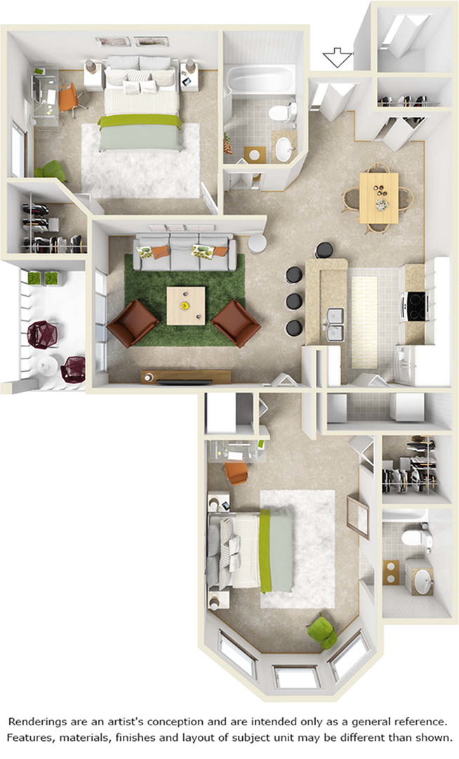 Cherry 2 bedrooms 2 bathrooms floor plan with tile and wood style floors