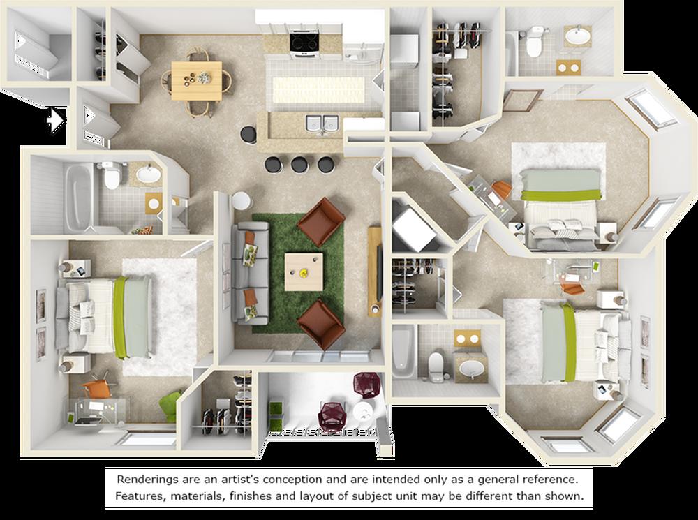 Willow 3 bedrooms 3 bathrooms floor plan with tile floors