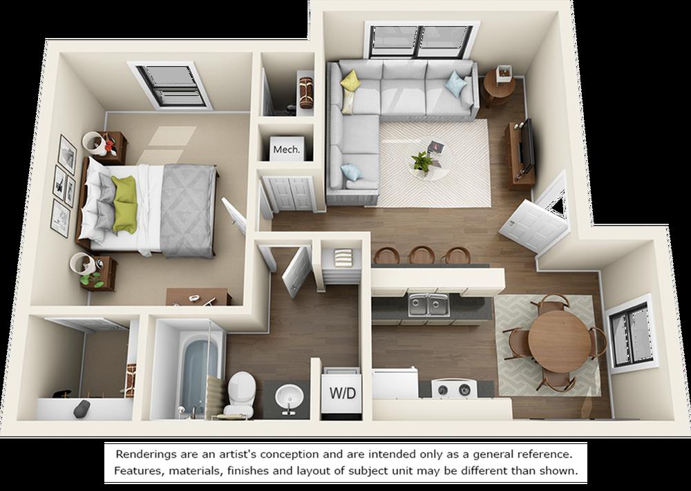 Dogwood 1 bedroom 1 bathroom floor plan with premium finishes and granite countertops