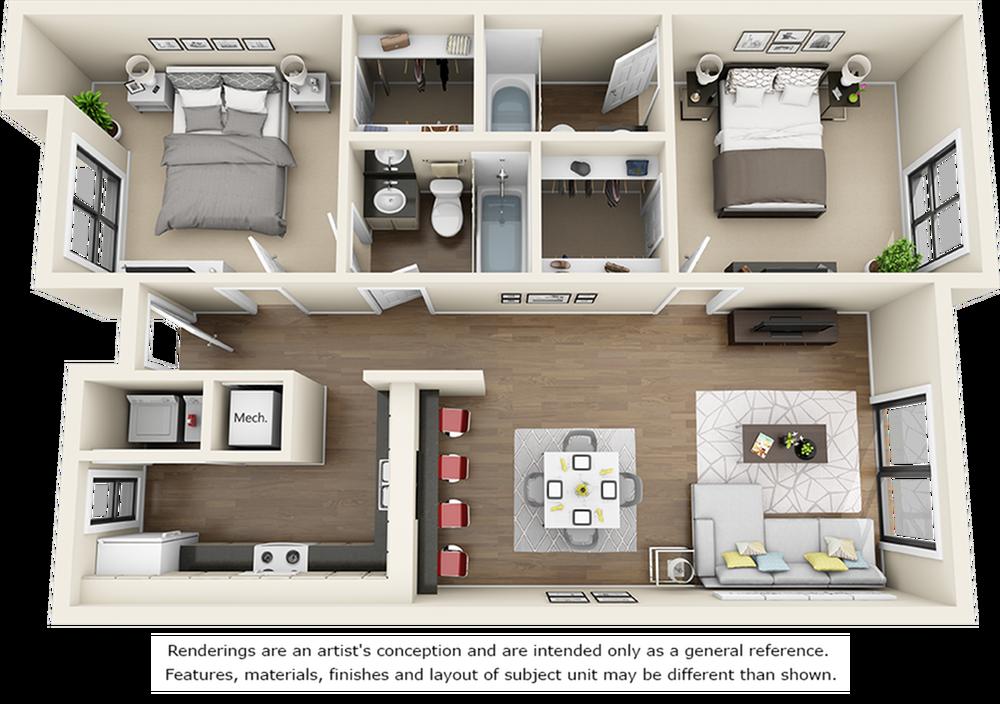 Redwood 2 bedrooms 2 bathrooms floor plan with premium finishes and granite countertops
