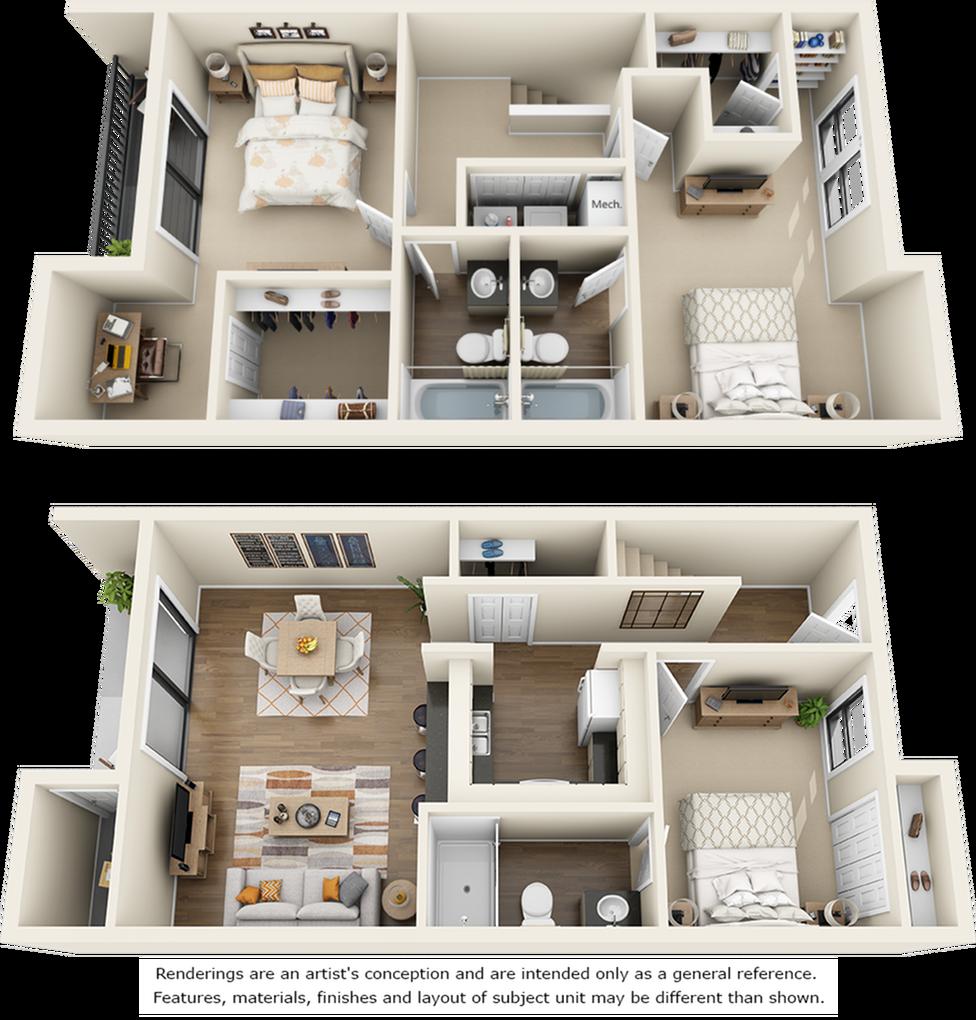 Cypress 3 bedrooms 3 bathrooms floor plan with double balcony
