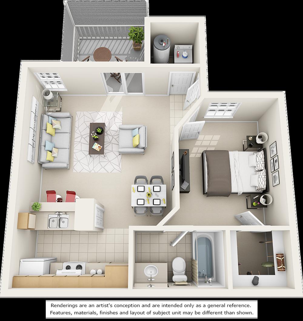 Sago 1 bedroom 1 bathroom floor plan with quartz counter tops