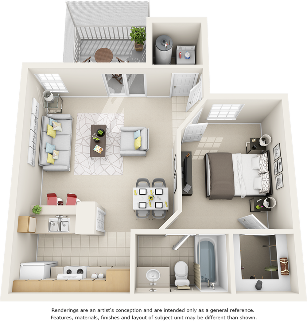 Vaulted Magnolia  1 bedroom 1 bathroom floor plan