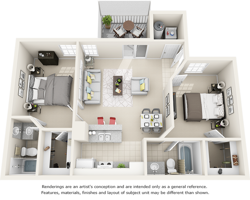 Vaulted Boxwood 2 bedrooms 2 bathrooms floor plan with premium finishes