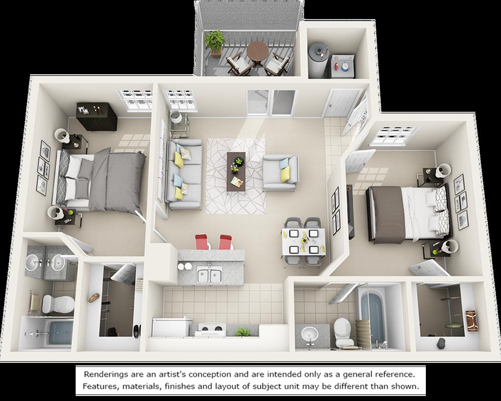 Vaulted Hibiscus  2 bedrooms 2 bathrooms floor plan