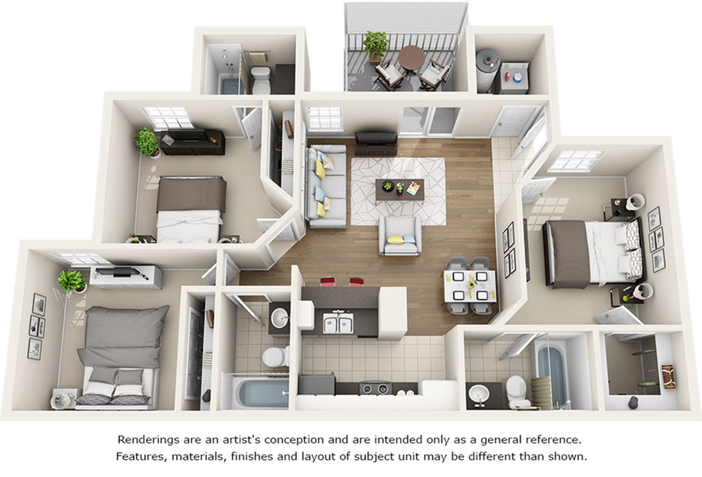 Live Oak 3 bedrooms 3 bathrooms floor plan with modern finishes
