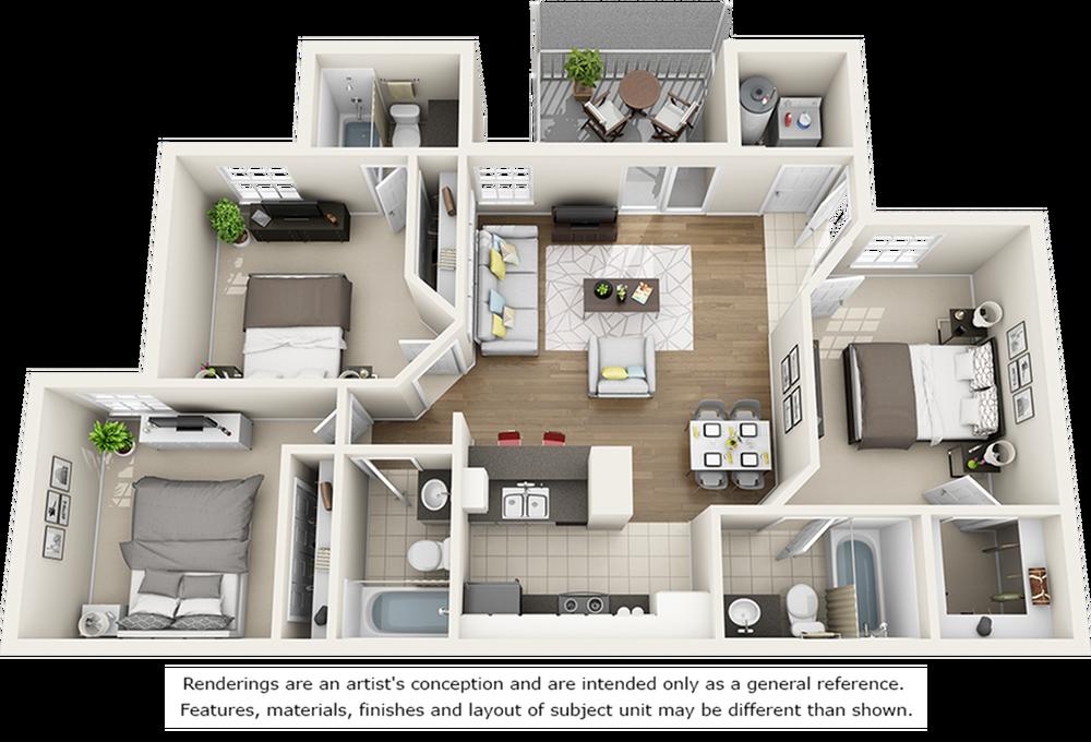 Live Oak 3 bedrooms 3 bathrooms floor plan with premium finishes