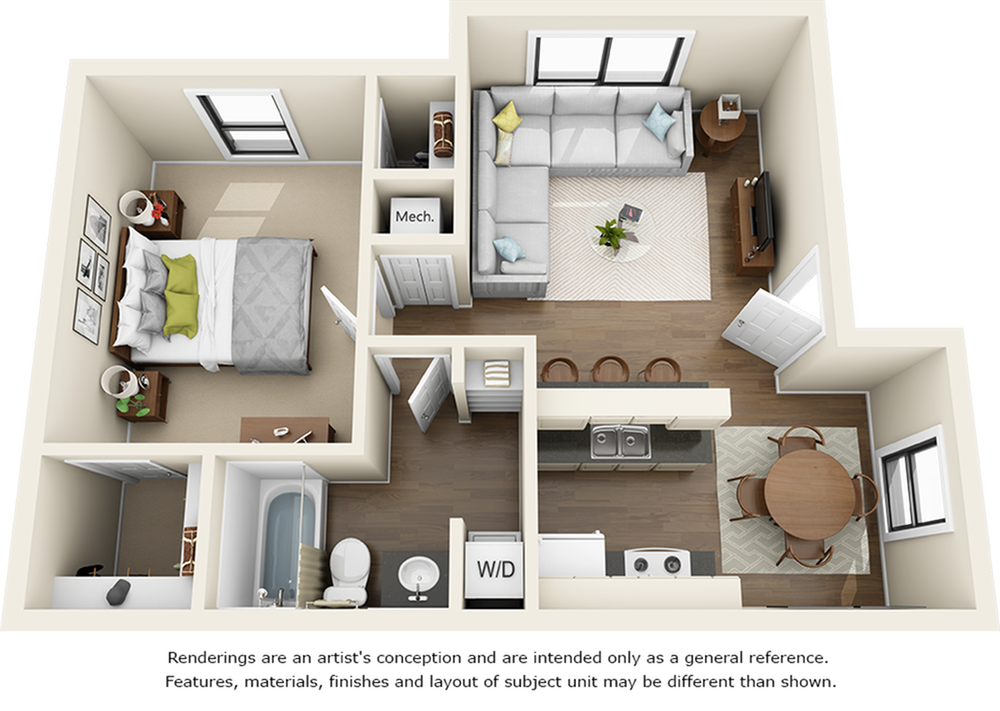 Dogwood 1 bedroom 1 bathroom floor plan with premium finishes and quartz