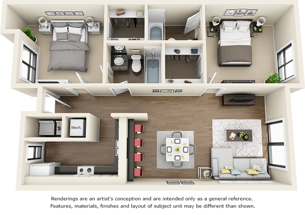 Redwood 2 bedrooms 2 bathrooms floor plan with premium finishes and quartz countertops