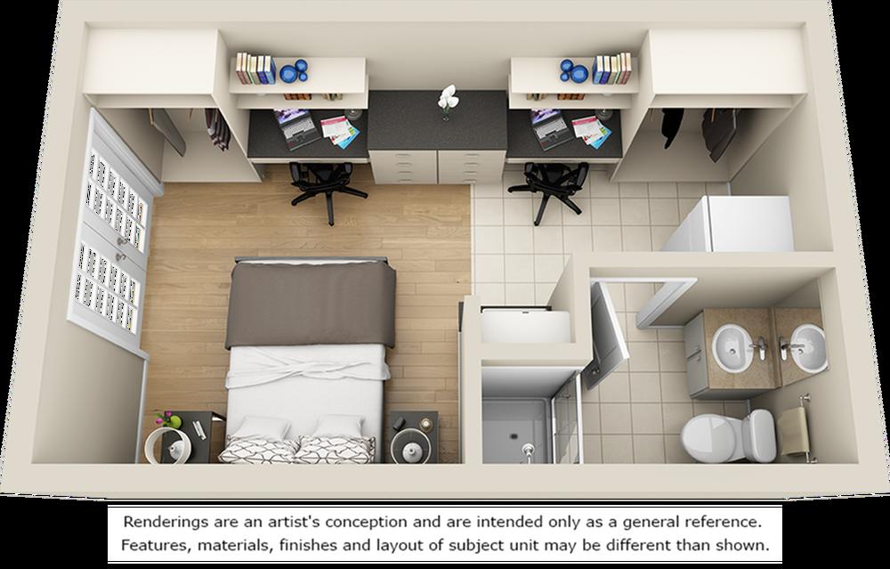 Champion\'s Club studio floor plan with 1 bathroom