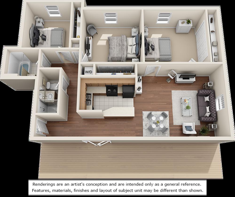 Penthouse 3 bedrooms 2 bathrooms floor plan
