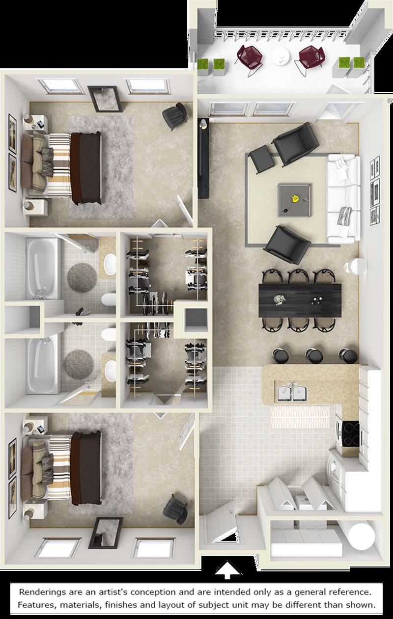 Haven 2 bedrooms 2 bathrooms floor plan